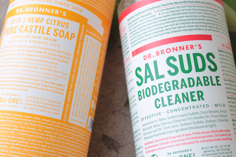 Dr. Bronner's Sal Suds Biodegradable Cleaner and 18-in-1 Hemp Citrus Pure Castile Soap