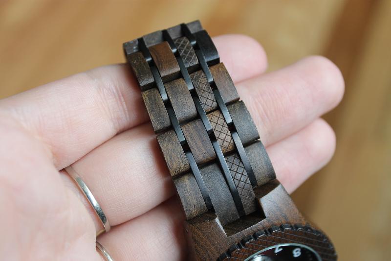 JORD Conway Series Dark Sandalwood and Burgundy watch links closeup