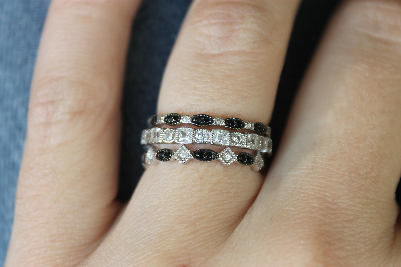 Everly Stackable bands with black and white simulated diamonds