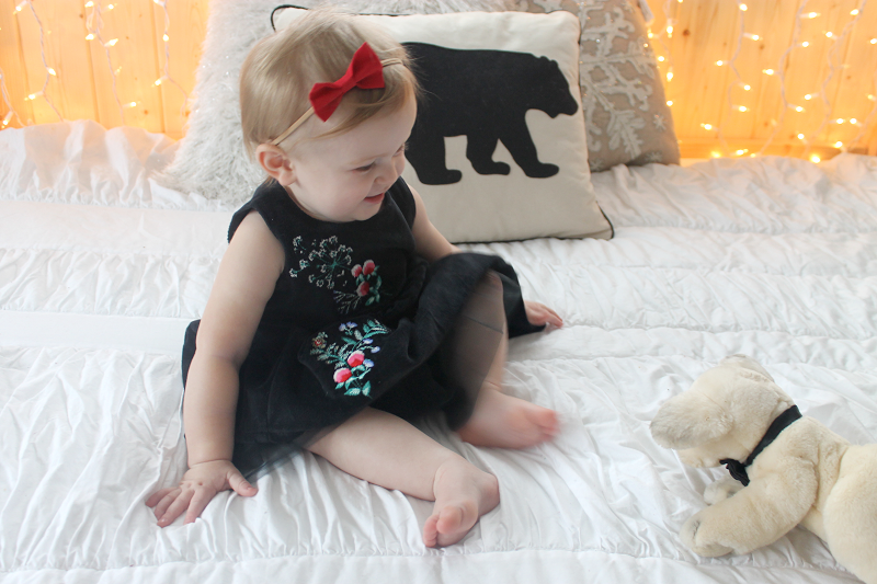 Carter's Black Embroidered Holiday Dress