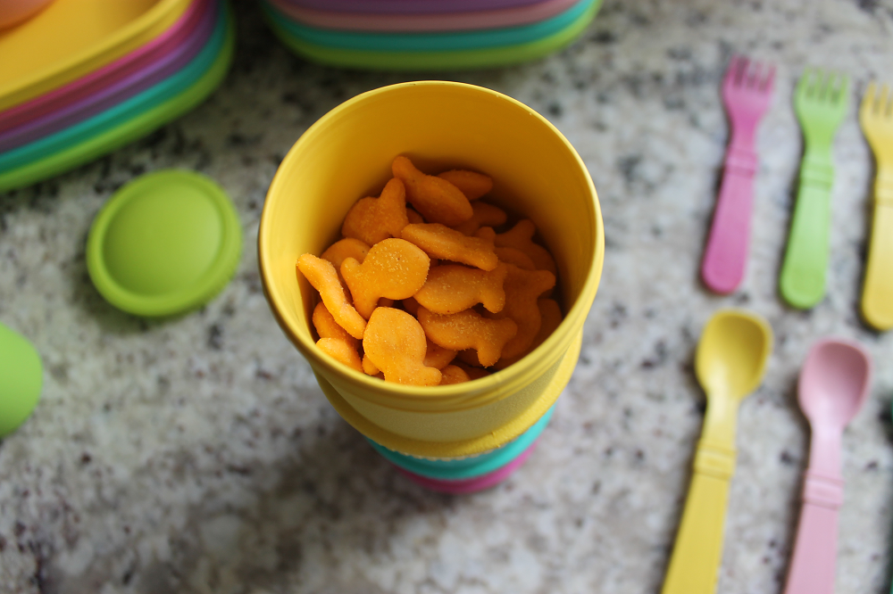 Close up of snack containers from Re-Play Recycled Sorbet Collection