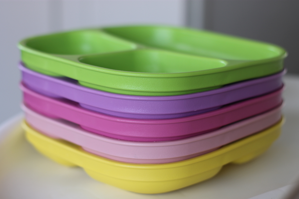 Sectioned plates from Re-Play Recycled Sorbet Collection